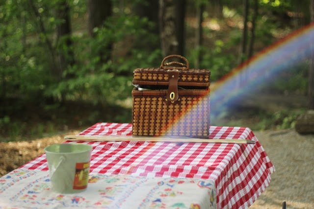 Picnic basket on a table with a picnic cloth