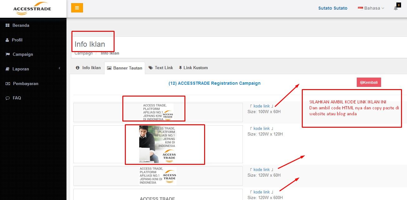 contoh iklan kode link accestrade