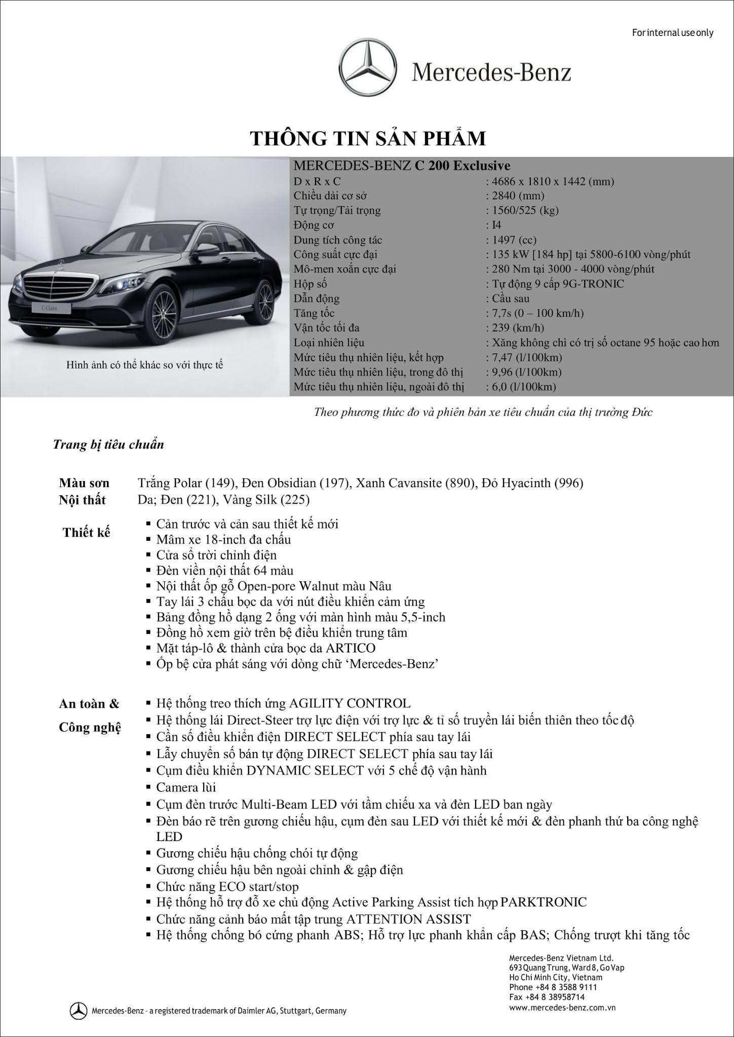 Bảng thông số kỹ thuật Mercedes C200 Exclusive 2019