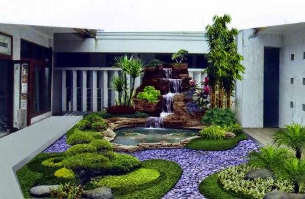 Desain taman rumah air terjun minimalis dan kolam ikan di dalam rumah