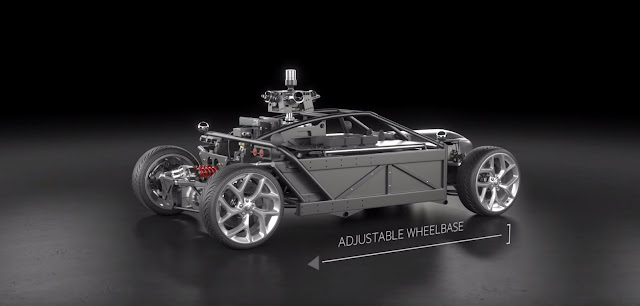Blackbird car with adjustable wheelbase and suspension