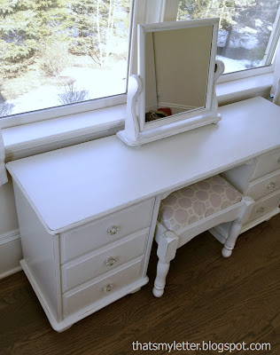 dressing table painted white dove