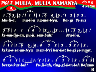 Lirik dan Not PKJ 2 Mulia, Mulia NamaNya