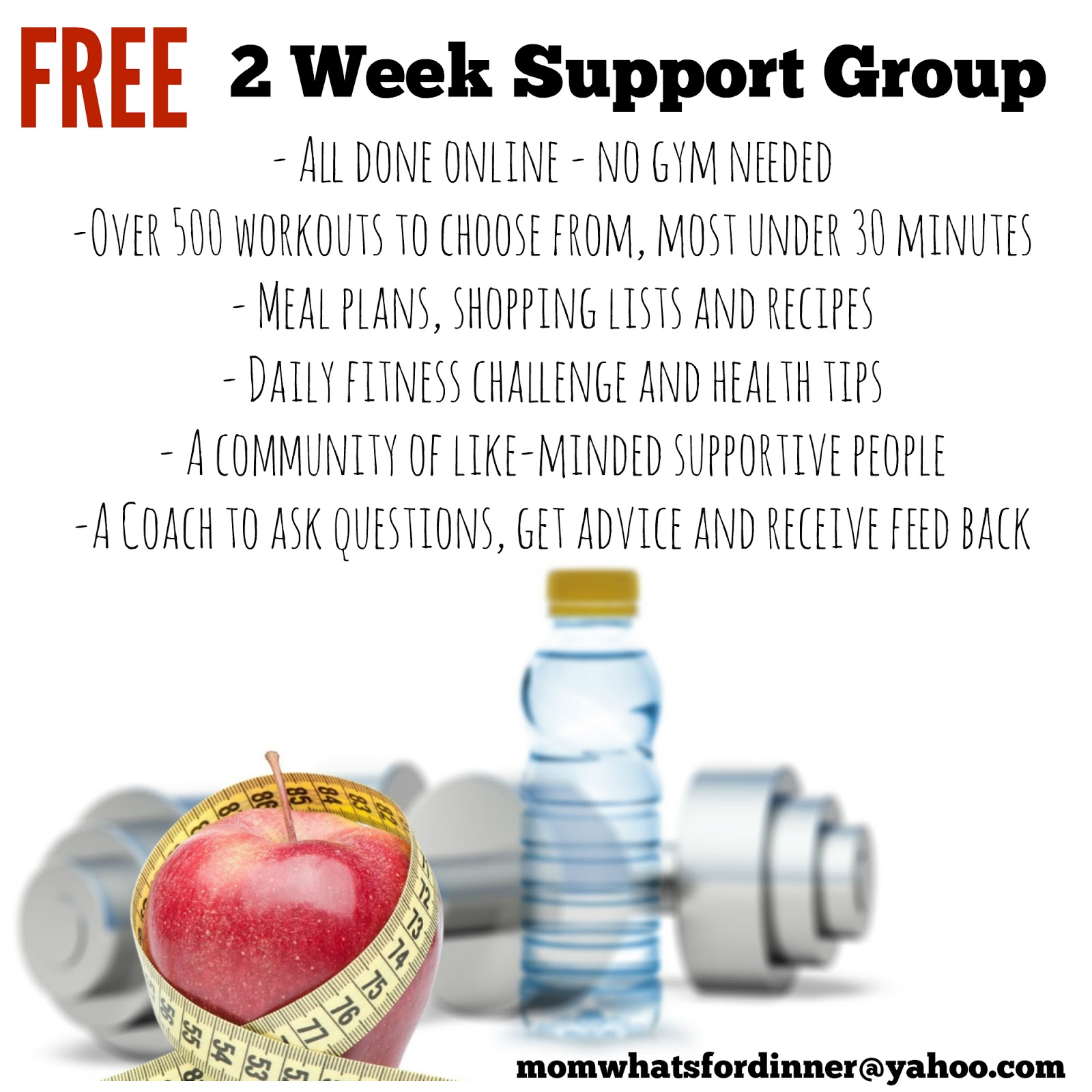 Free 2 week support group for exercise and weightloss