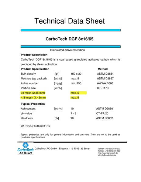 Technical Data Sheet (TDS) Karbon Aktif CarboTech DGF 8x16/65