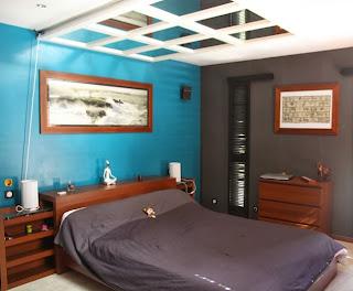 decoración dormitorio azul marrón