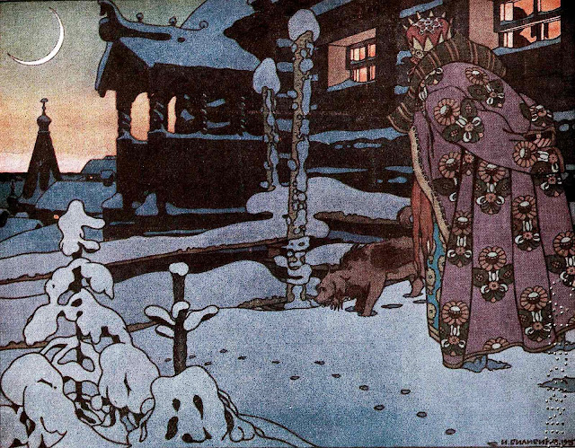 Ivan Bilibin illustration walk the dog