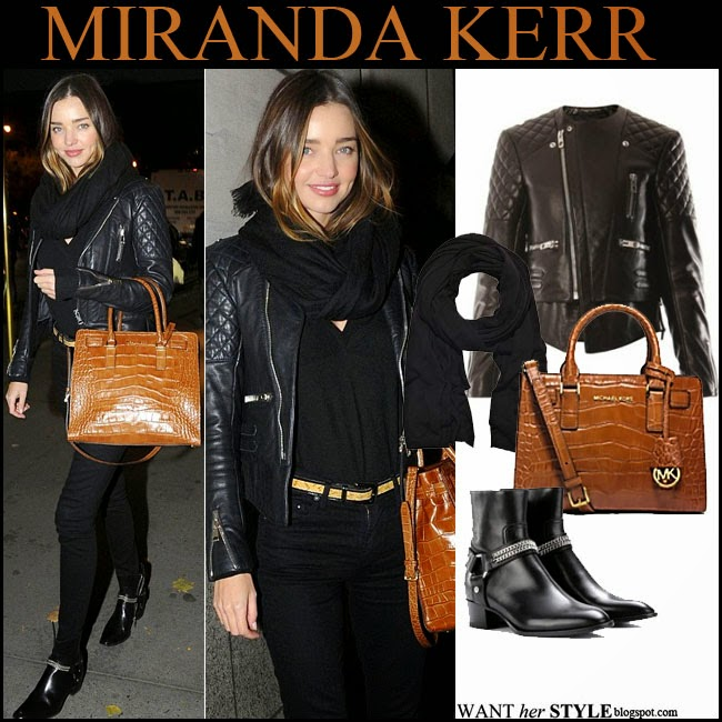 5764fa02c1c3 Miranda Kerr with tan leather croc embossed leather bag by Michael Kors  Dillon tote want her