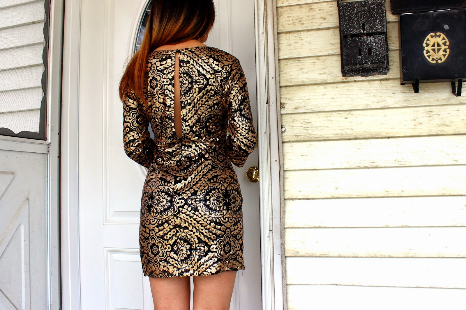 Sequined Baroque Bodycon Dress