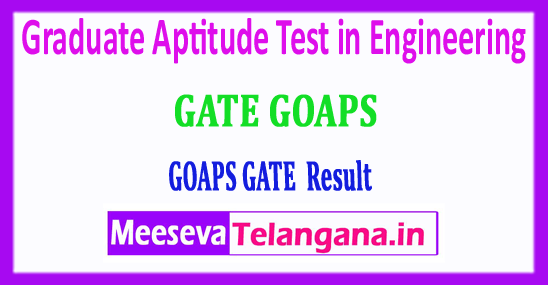 GATE GOAPS 2018 Results Graduate Aptitude Test in Engineering Results Download