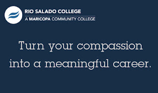 Poster with Rio Salado logo and text: Turn Your Compassion into a Meaningful Career