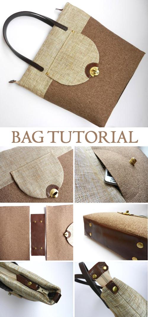 Large Bag with Pocket Tutorial