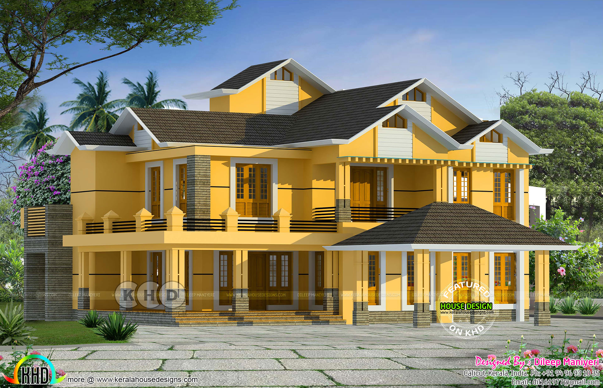 2767 Square Feet 5 Bedroom Sloping Roof House