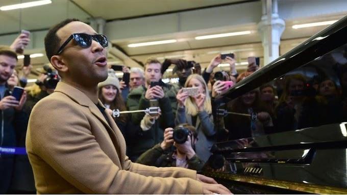 John Legend plays surprise station gig at St Pancras in London