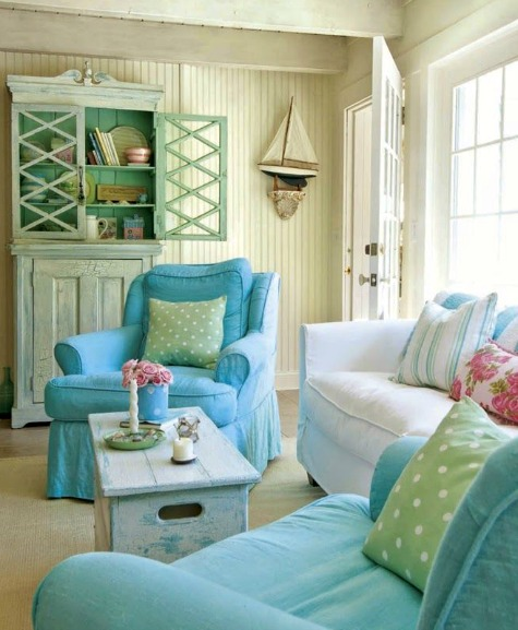 Pastel Beach Cottage Living Room by Tracey Rapisardi