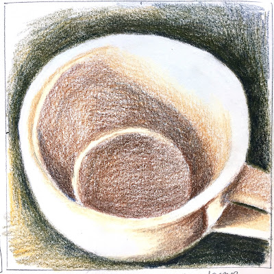Daily Art 09-19-17 colored pencil study of coffee cup in Canson XL Mix Media sketchbook