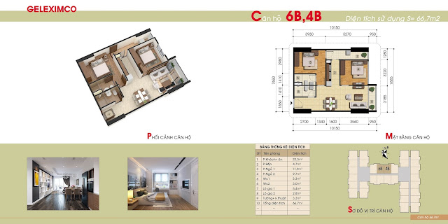 Căn hộ mẫu 6B, 4B của chung cư Gemek Premium