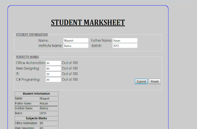 Real marksheet using HTML