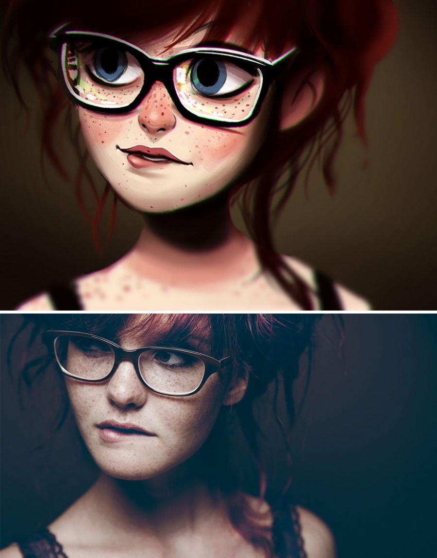 artist transforms photos of random people in amazing illustrations