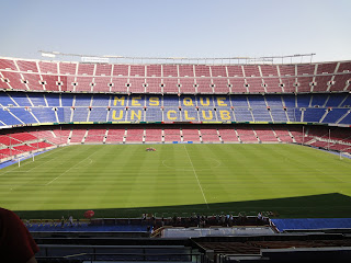 Een leeg Camp Nou, een prachtige aanblik