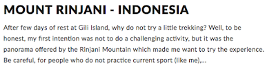 The Mount Rinjani ascent in Indonesia