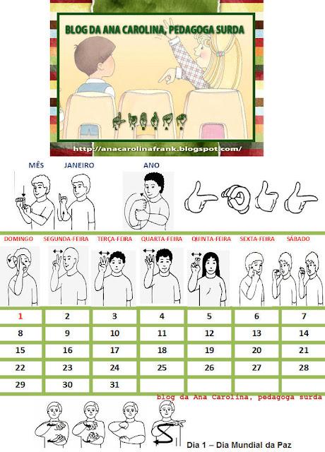 Calendário em LIBRAS - Mês janeiro