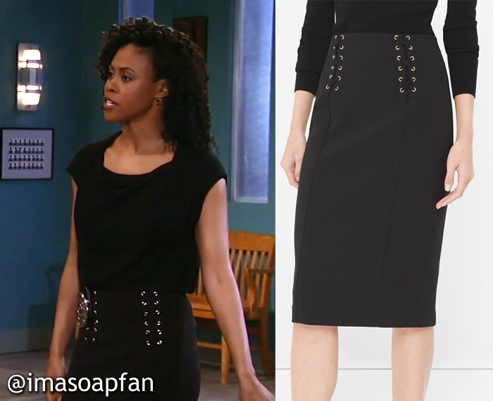 Jordan Ashford, Vinessa Antoine, Black Lace-Up Waist Pencil Skirt, White House Black Market, GH, General Hospital