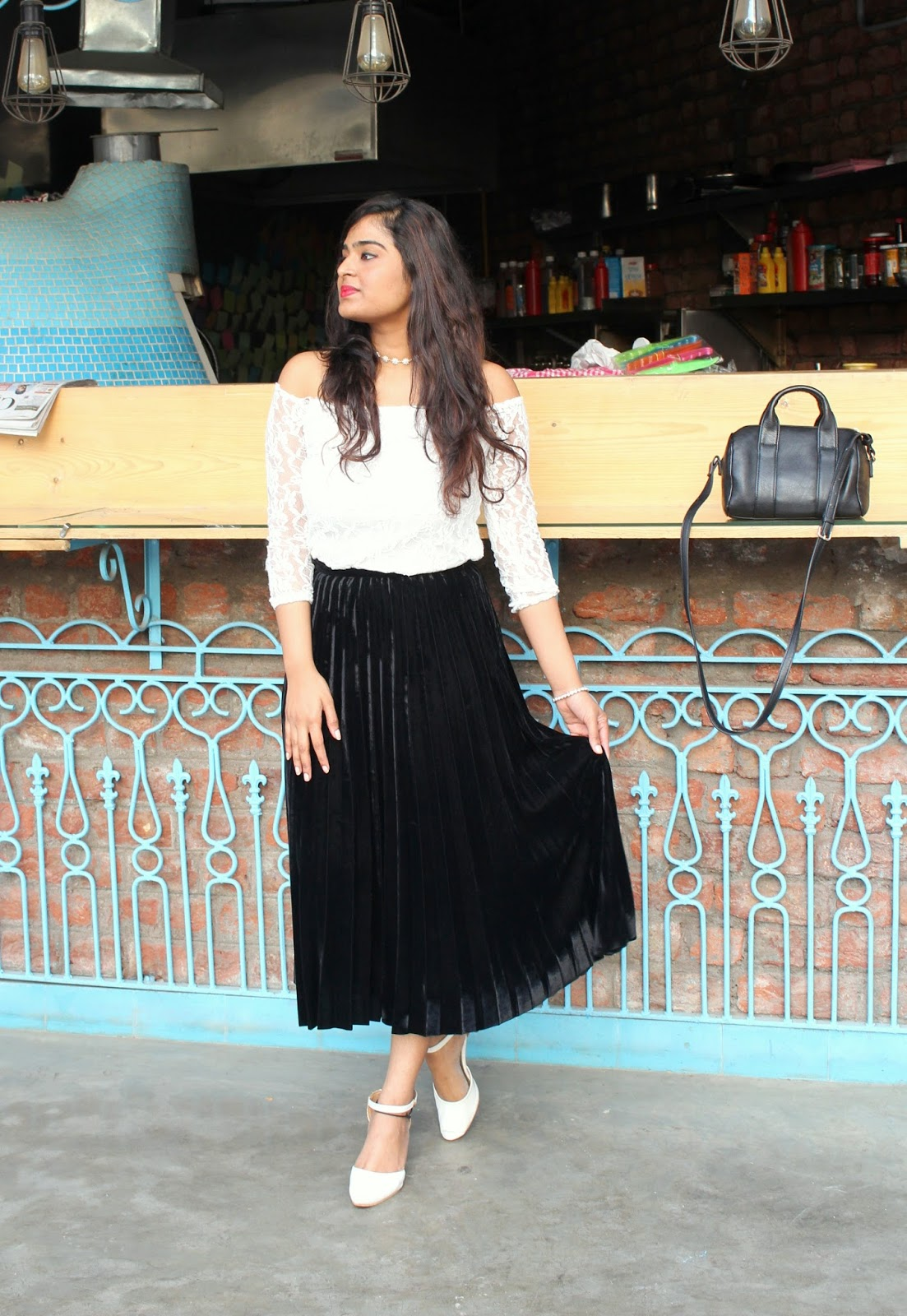 I Got This Skirt From Zara.It Is A Pleated Velvet Black Skirt. I Love  Pleats And Velvet, So I Just Had To Buy This One:D Also I Got This One On  Flat ...