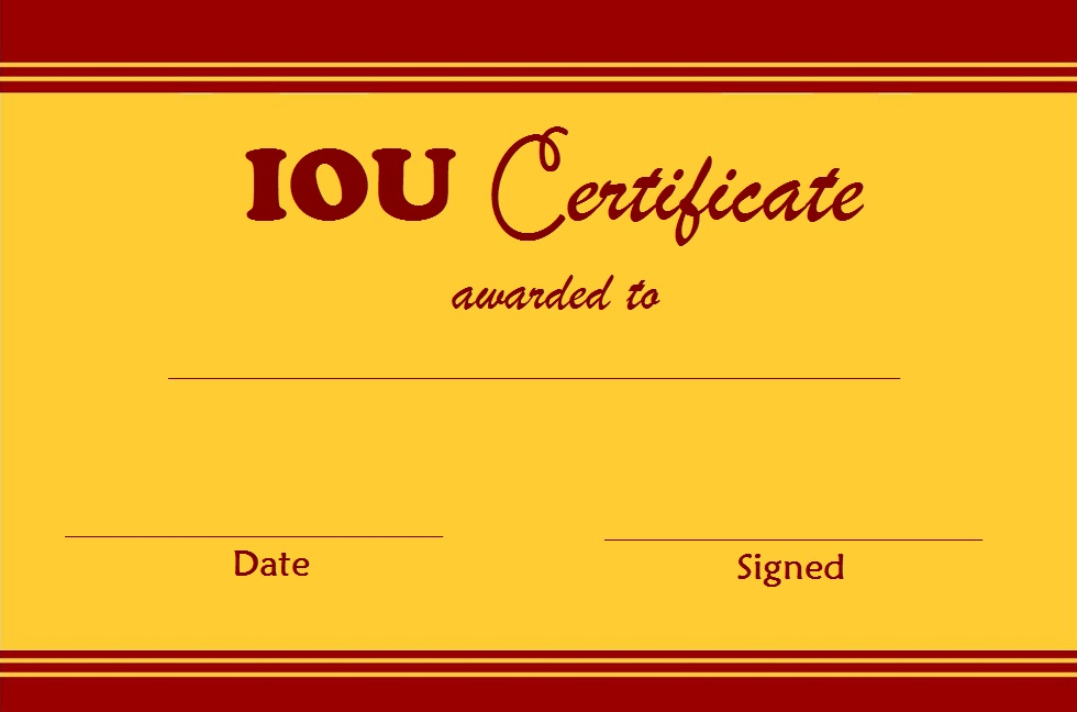 photo about Printable Iou referred to as Iou Rates of the Working day