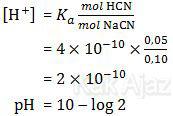 pH penyangga asam, campuran asam kenah HCN dan basa kuat NaOH