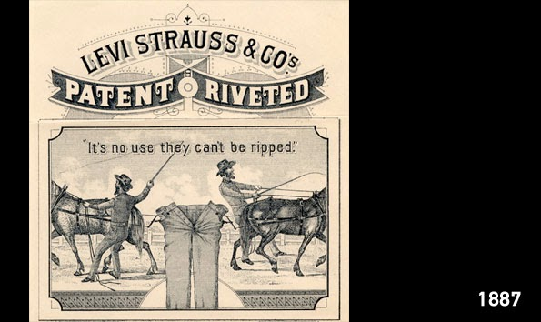 Levis Two Horse Logo Trade Mark label in 1887