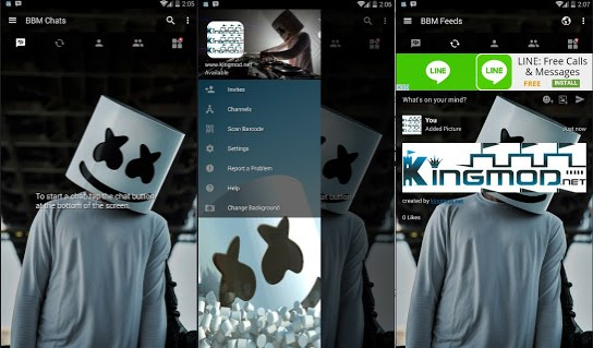 BBM MOD Dj Marshmello Transparant Full Features v3.1.0.13 Update Terbaru Apk Clone / Unclone