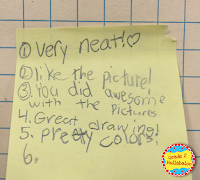 Second Graders Use Sticky Notes to Give Peer Feedback