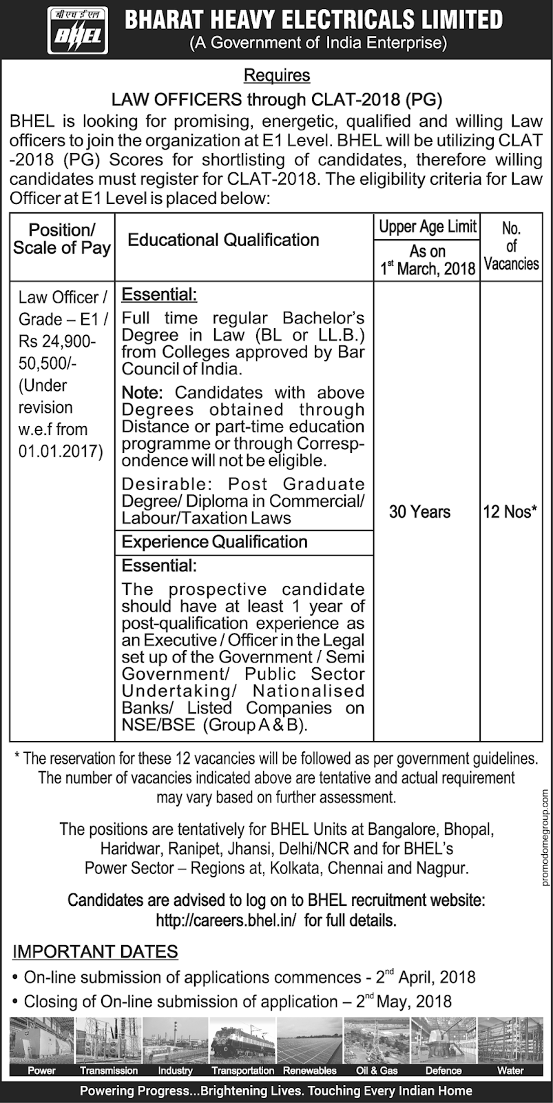 Law Officer vacancies at Bharat Heavy Electricals Limited - Naukri ...