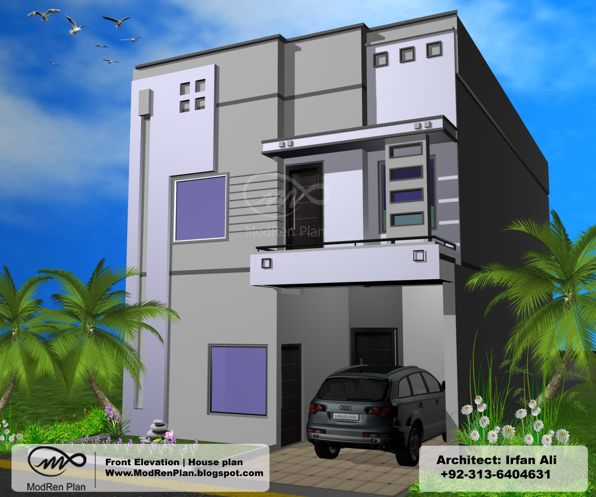 5 marla front elevation 1200 sq ft house plans modern for Single house front design