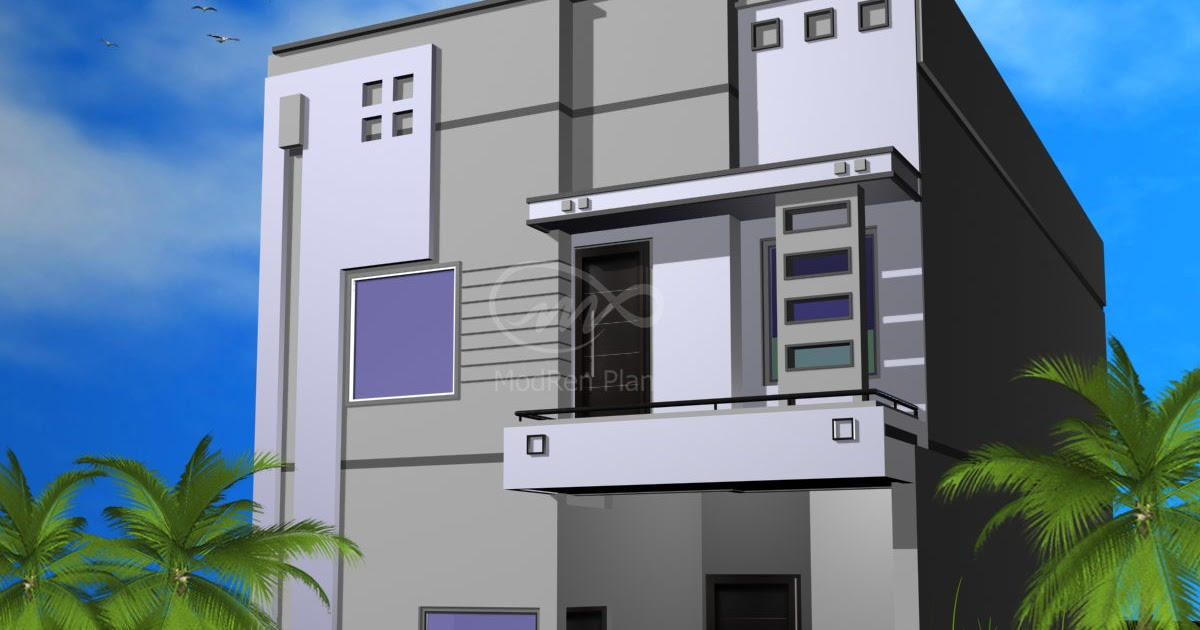 Marla Home Front Elevation : Marla front elevation sq ft house plans modern