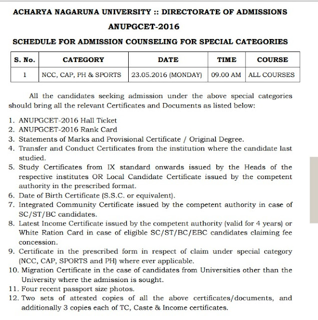 ANUPGCET 2016 Counselling Schedule Certificates Verification Process