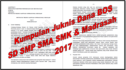 Kumpulan Juknis Dana BOS SD SMP SMA SMK dan Madrasah 2017