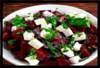Healthy Roasted Beets salad with Feta Cheese