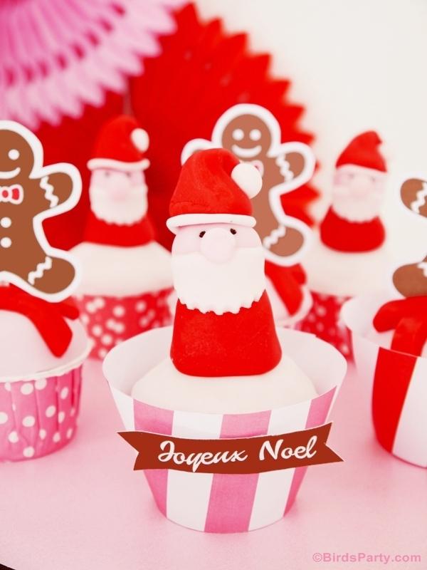 DIY Cupcake Toppers Père Noel en Pâte à Sucre | BirdsParty.fr