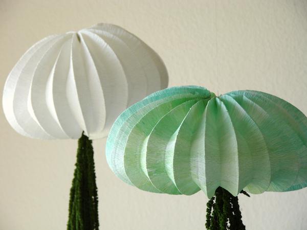 lampade medusa, in stile origami, carta crespa, fatte a mano,