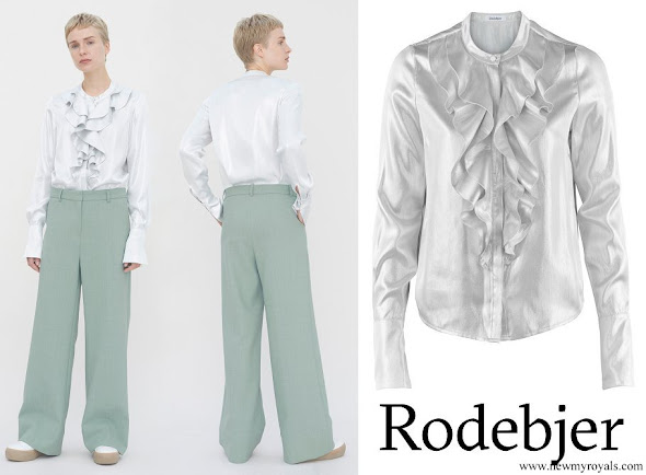 Crown Princess Victoria wore RODEBJER Silva Silk Silver Blouse