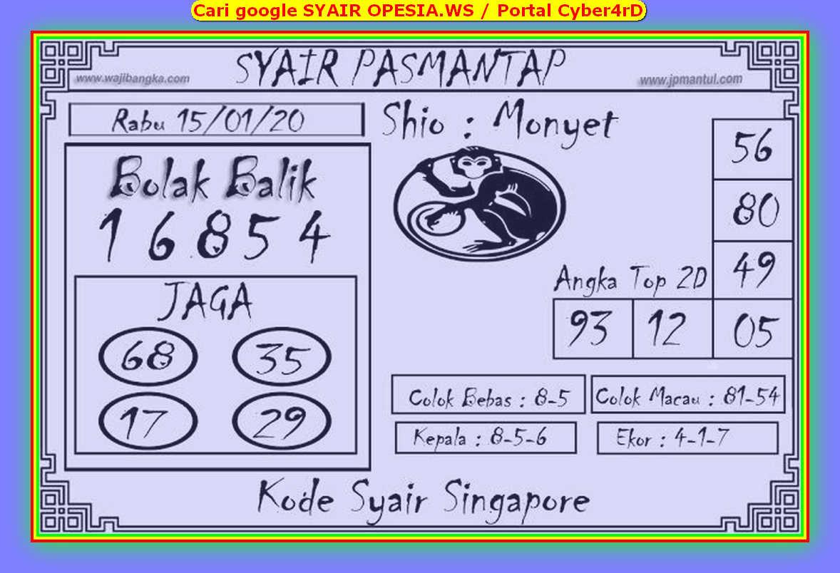 Kode syair Singapore Rabu 15 Januari 2020 167