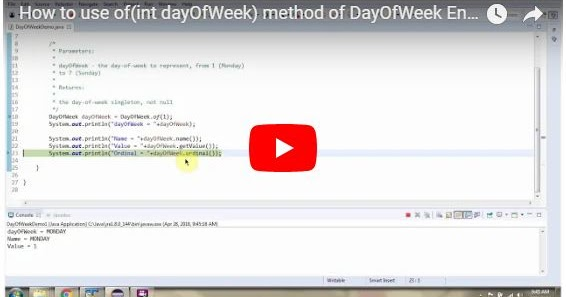 JAVA EE: How to use of(int dayOfWeek) method of DayOfWeek