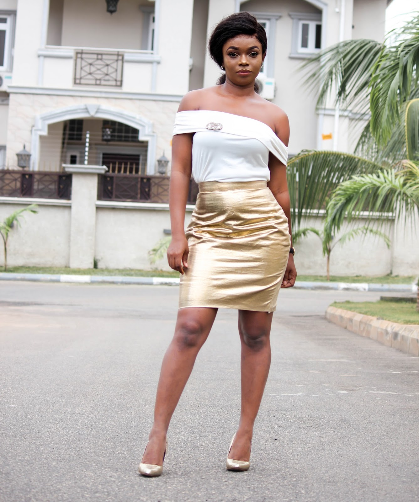 GOLDEN - White Off The Shoulder Top and Gold Foil Skirt from Porshher