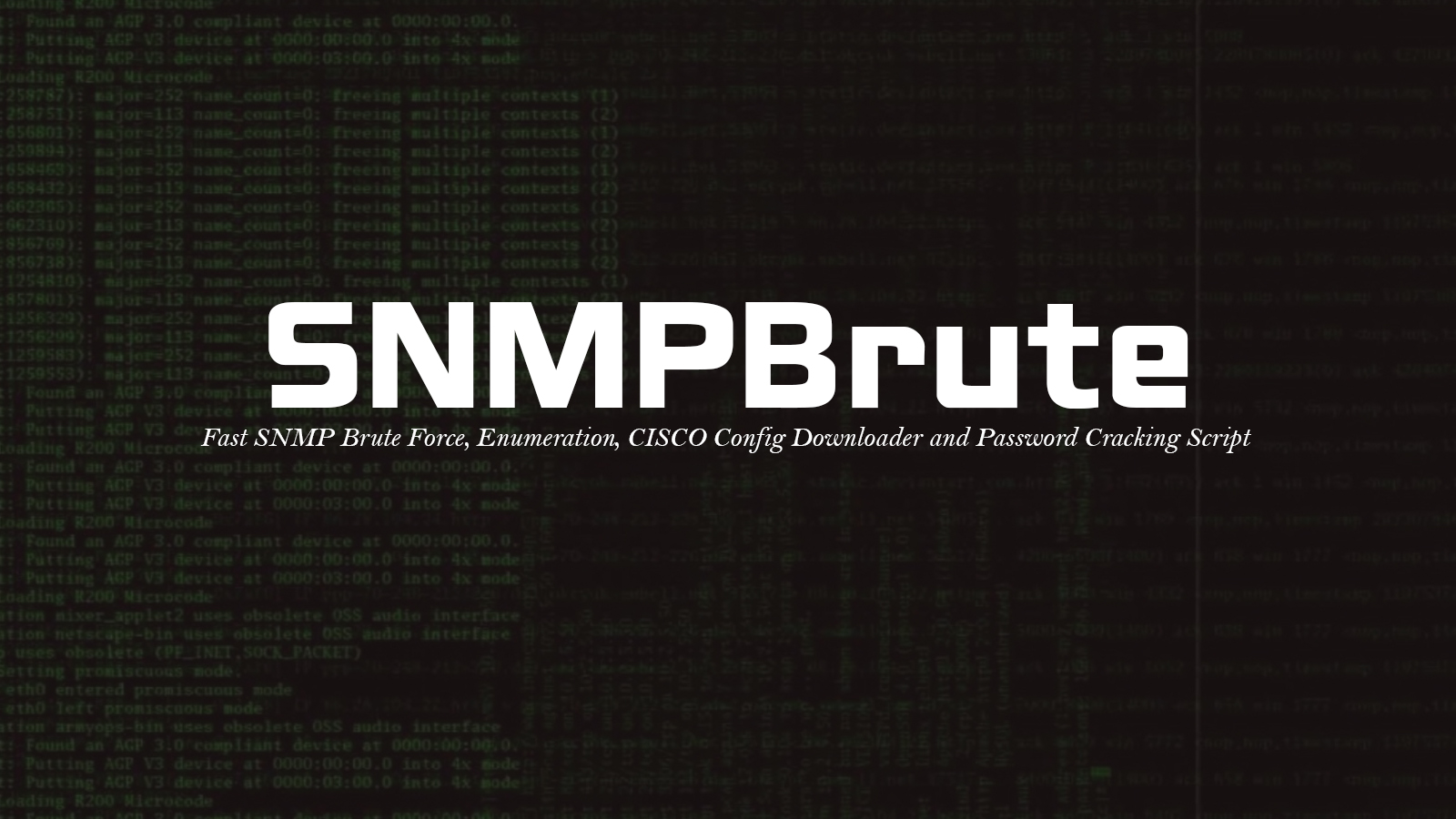 SNMPBrute - Fast SNMP Brute Force, Enumeration, CISCO Config Downloader and Password Cracking Script