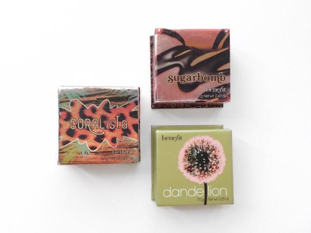 Benefit Blushes, Benefit Cosmetics, Benefit Coralista, Benefit Dandelion, Benefit Sugarbomb