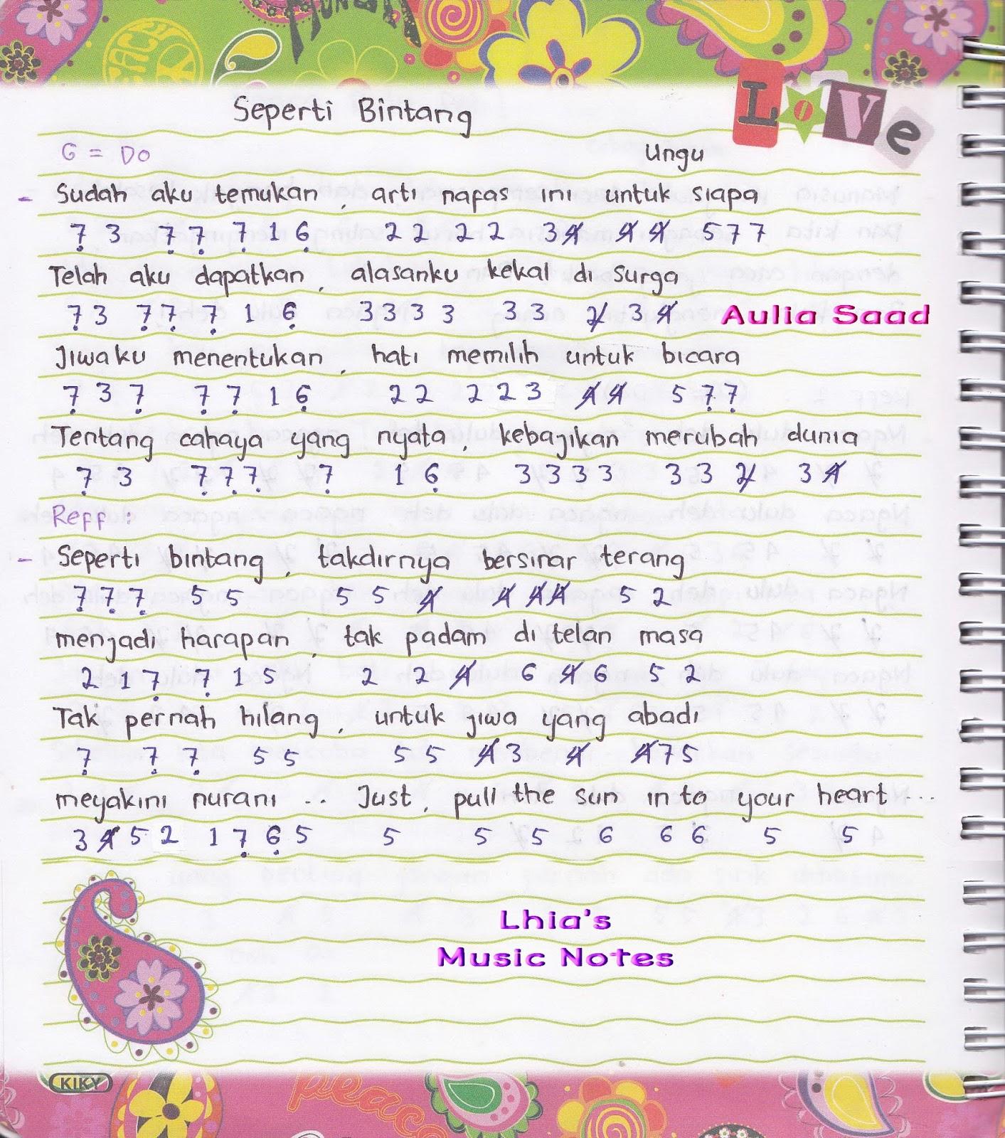 Not Angka Utopia Seperti Bintang Lhia S Music Notes Cute766