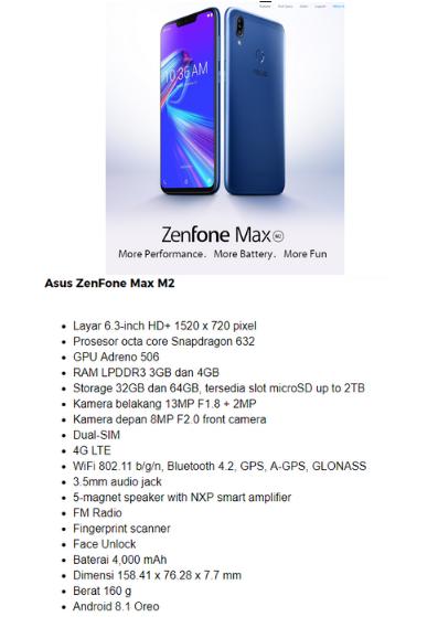 Spesifikasi ASUS Zenfone Max M2