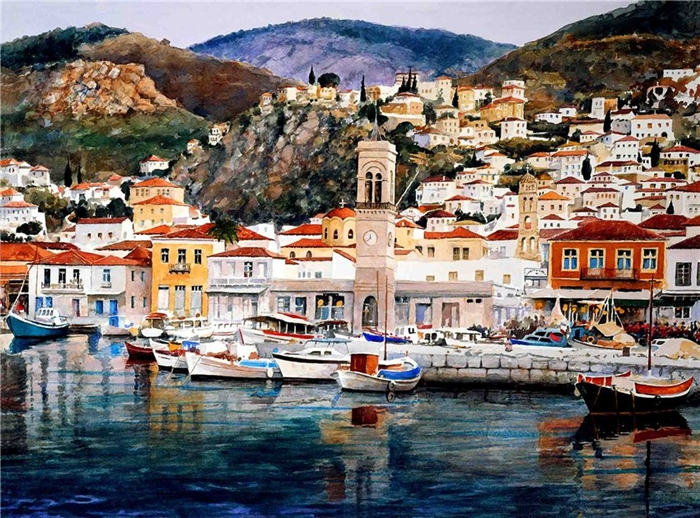 Pantelis Zografos 1949 | Watercolors of Greek Islands